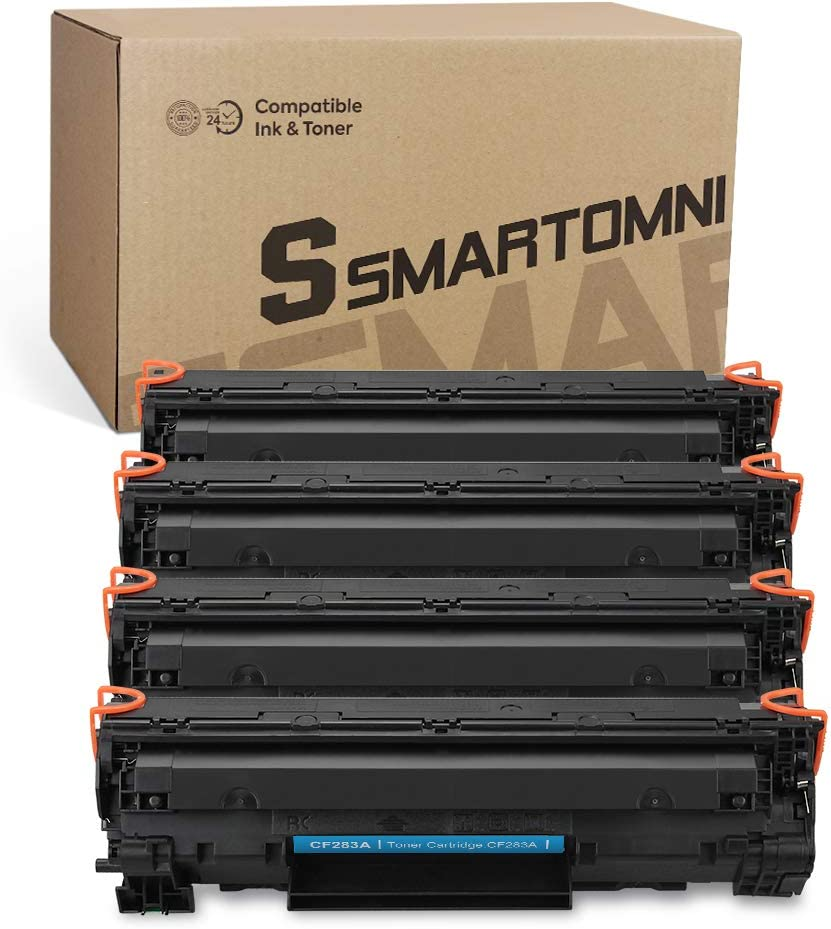 S SMARTOMNI Compatible Toner Cartridge Replacement for HP 83A CF283A (4-Pack,Black), for Use with HP Laserjet proMFP M225dn M225dw M127fw M127fn M201dw M201n M125nw M125a Printer Series