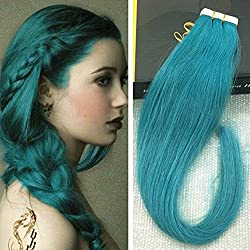 Ugeat 16 inch Tape Hair Extensions Highlight Color Teal 25g Per Package 10 Pcs Tape ins Seamless Glue in Hair Extensions