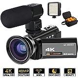 ビデオカメラ ACTITOP デジタルビデオカメラ 4K HDR 48MP WIFI機能 16倍デジタルズーム IR夜視機能 3.0インチタッチモニター 外部マイク 超広角レンズ搭載 ビデオライト カメラバッグ 日本語システム (4800万画素)