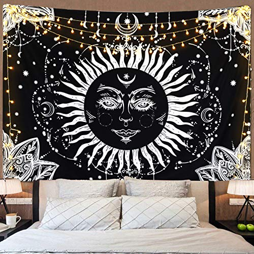 Sevenstars Burning Sun Tapestry Psychedelic Tapestry Sun and Moon Tapestry Wall Hanging Black and White Mystic Faces Tapestry for Living Room Bedroom Dorm Room - Art Wall Moon Face