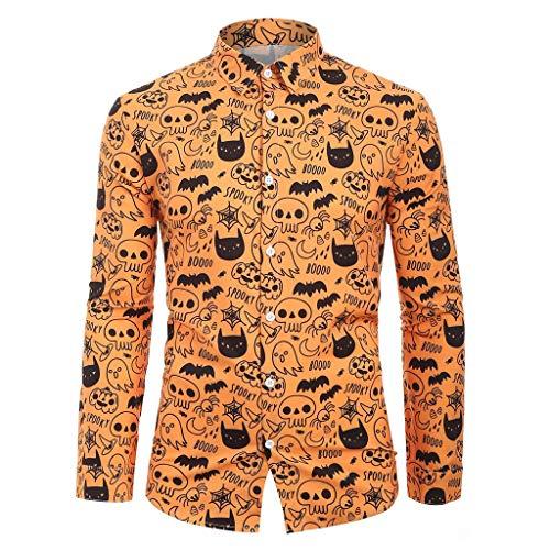 Halloween Oxford 2019 (Bravetoshop Men's Autumn Winter Button-Down Shirts Long Sleeve Regular Fit Turn-Down Collar Halloween Dress Shirt)