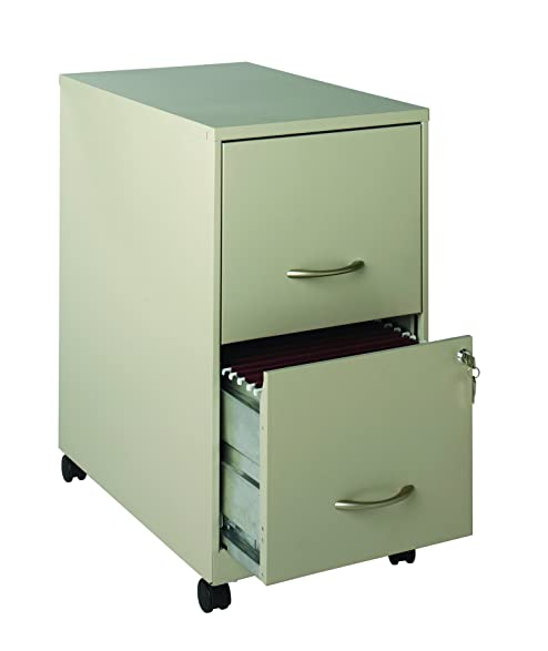 Space Solutions 22u0026quot; 2 Drawer Mobile Metal File Cabinet With Wheels And  Drawer Lock