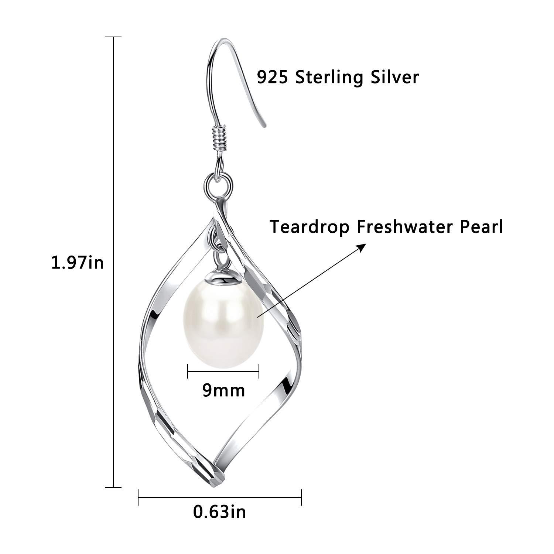 Womens Classic Linear Loops Sterling Silver Twist Wave & Teardrop Pearl Dangle Earrings