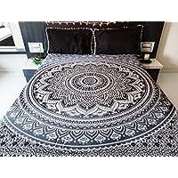 Indie Pop Mandala Tapiz Ropa de cama con fundas de almohada, Bohemio indio Hippie Tapicería tapiz, Hippy manta o tiro de playa, Mandala Ombre colcha para el dormitorio, Negro Gris Reina tamaño Boho decoración