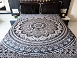 Difference Between King and California King Bed Indie Pop Mandala Tapestry Bedding with Pillow Covers, Indian Bohemian Hippie Tapestry Wall Hanging, Hippy Blanket or Beach Throw, Mandala Ombre Bedspread for Bedroom, Black Gray Queen Size Boho Decor