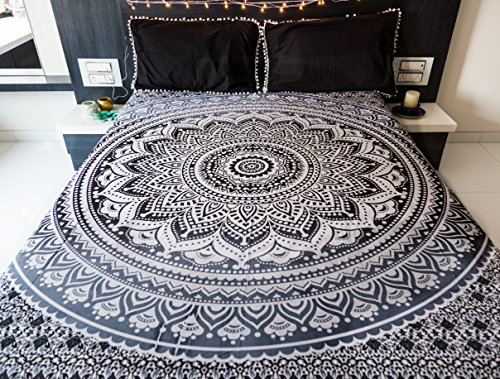 Indie Pop Mandala Tapestry Bedding with Pillow Covers, Indian Bohemian Hippie Tapestry Wall Hanging, Hippy Blanket or Beach Throw, Mandala Ombre Bedspread for Bedroom, Black Gray Queen Size Boho Decor