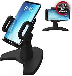 Desk Call by Cup Call Desktop Phone Mount - View Your Cell Phone at Any Angle - Fully Adjustable Phone Stand Great for Video Chatting - Tilts & Rotates for Easy Viewing - Easy Phone Charging Access