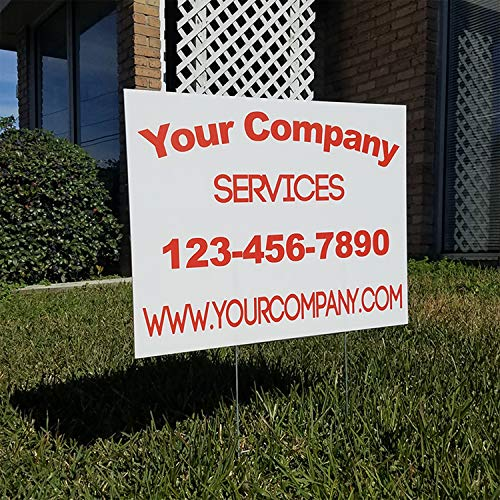 (Vibe Ink Custom Full-Color Yard or Lawn Signs Double-Sided Corrugated Plastic with Metal H-Stake Stand - Great for Political, Small Business, Arts 'n Crafts, Events, Real Estate and More! (24x18))