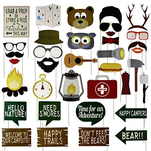 musykrafties Woodland Camping Party Photo Booth Props 35 Count