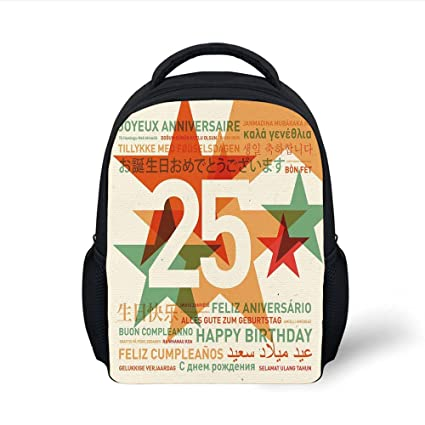 Amazon iprint kids school backpack 25th birthday decorations iprint kids school backpack 25th birthday decorationsvintage colored stars and greetings in different languages m4hsunfo