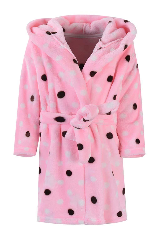 Ameyda Girls Polka Dots Printed Flannel Hoodie Robe Fleece Bathrobe with Hood, Pink, 170