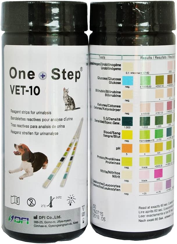 100 Tiras Reactivas Análisis de Orina Veterinario 10 Parámetros: Urobilinógeno, Glucosa, Bilirrubina, Cetona, Gravedad Específica, Sangre, pH, ...
