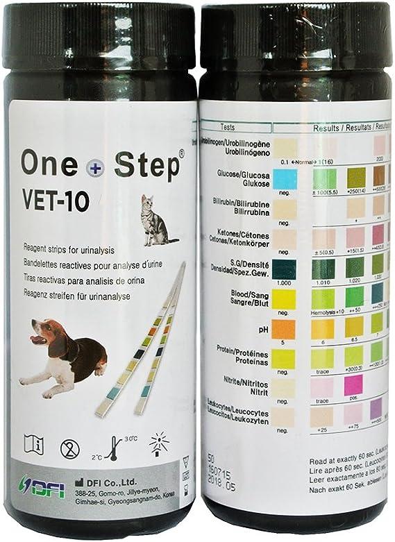 150 Tiras Reactivas Análisis de Orina Veterinario 10 Parámetros: Urobilinógeno, Glucosa, Bilirrubina, Cetona, Gravedad Específica, Sangre, pH, ...