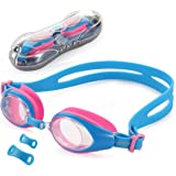 Kid Swim Goggles, UShake Anti-fog Lens Soft Silicone Frame Child Swimming Goggles for Kids and Early Teens with 3 Nose Pieces