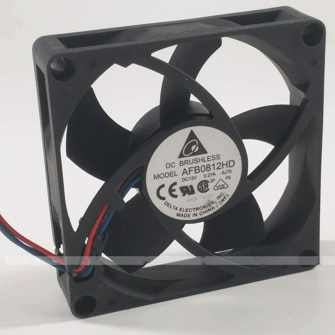 for Delta AFB0812HD 12V 0.27A 8CM 8020 3-Wire Double Ball Cooling Fan