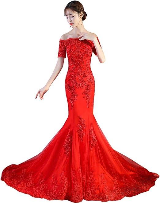Amazon Com Red Lace Boho Mermaid Wedding Dresses Half Sleeves Off
