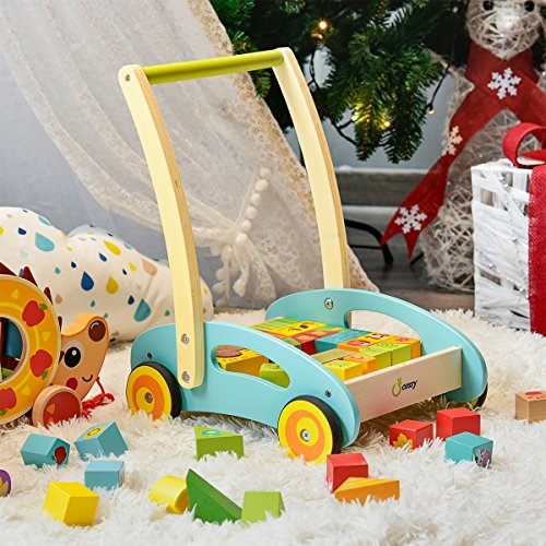 616MAl0QPiL - cossy Wooden Baby Learning Walker Toddler Toys for 1 Year Old Forest Theme Blocks & Roll Cart Push & Pull Toy (36 Pcs)