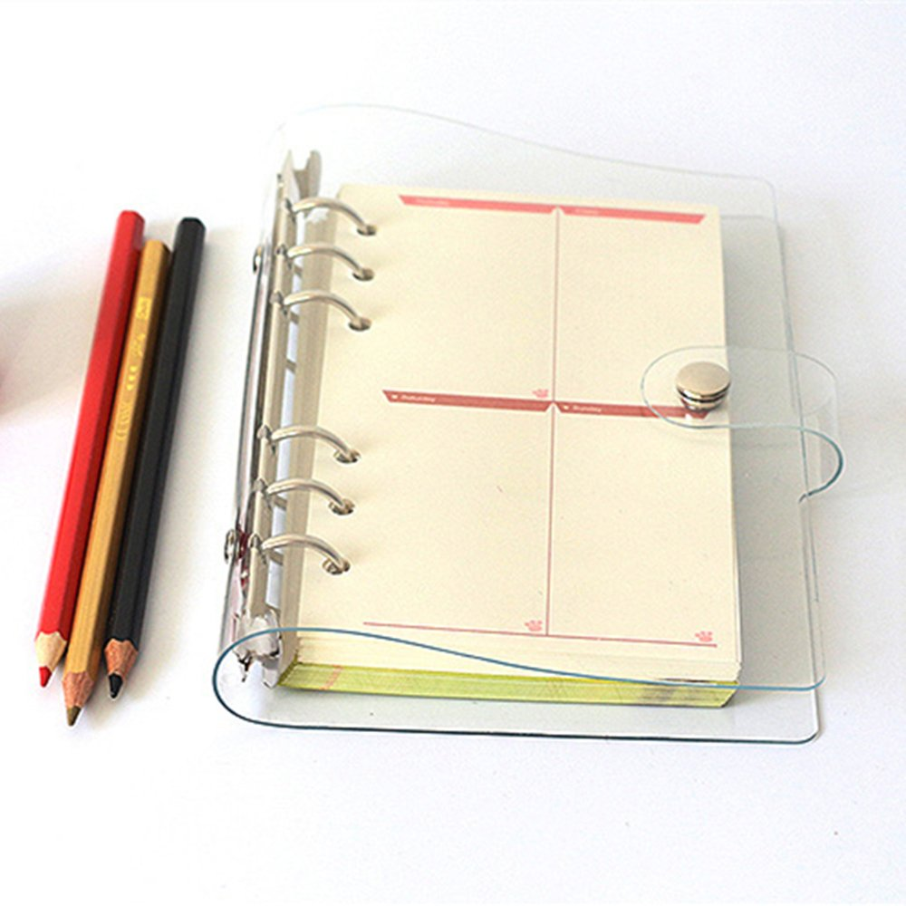 A5 6-ring Clear Binder Covers Transparent Soft PVC Notebook Round Ring Binder Cover Protector Snap Button Closure Loose Leaf Folder (Transparent, A5)