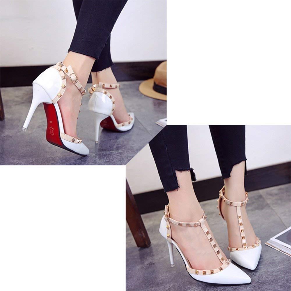 Schuhe 9cm Weiß rot, Spitz Heels mit High Heels, Nieten ausgehöhlte Schnalle rot, Weiß Flacher Mund (Farbe   Weiß9cm, Größe   35 EU) 09861e