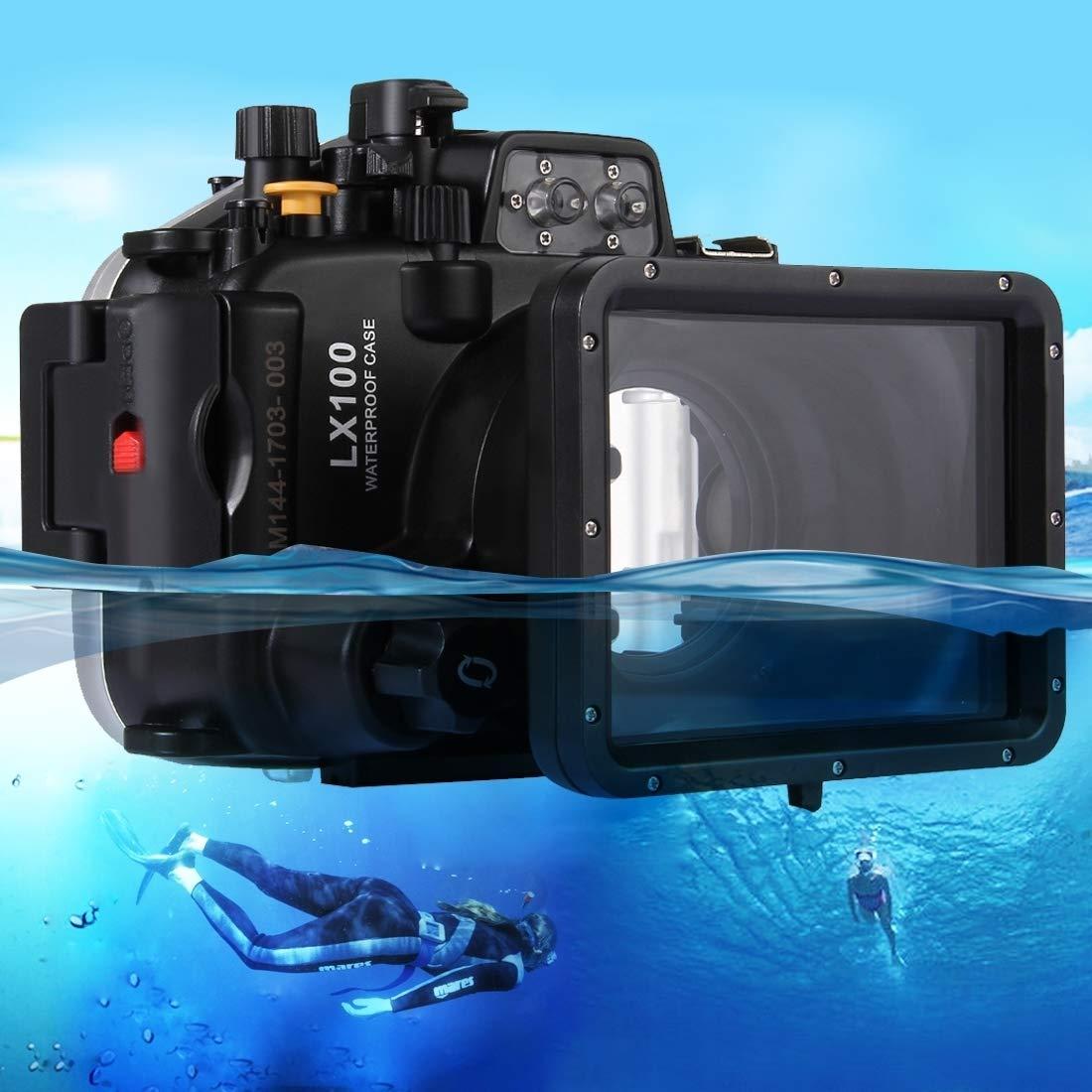 カメラ用 パナソニックLUMIX DMC-LX100用40m水中深度ダイビングケース防水カメラハウジング カメラアクセサリー   B07QB36SNN