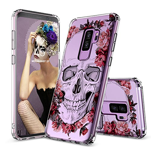 Galaxy S9 Plus Case, Clear Galaxy S9 Plus Case, MOSNOVO Cool Floral Skull Flower Clear Design Printed Slim Plastic Hard Back Cover with TPU Bumper Protective Case for Samsung Galaxy S9 Plus (2018)