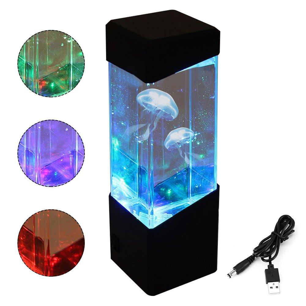 Interlinkクラゲランプアクアリウム電気クラゲタンクミニLEDカラー変更ムードランプ、ホームデコレーションロマンスとrelaxmagicランプnight-lights forギフト B078N7L2X8