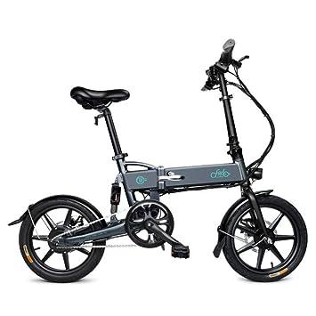 Bicicleta eléctrica Plegable de 16 Pulgadas, Peso Ligero Negro/Blanco y Aluminio EBike con