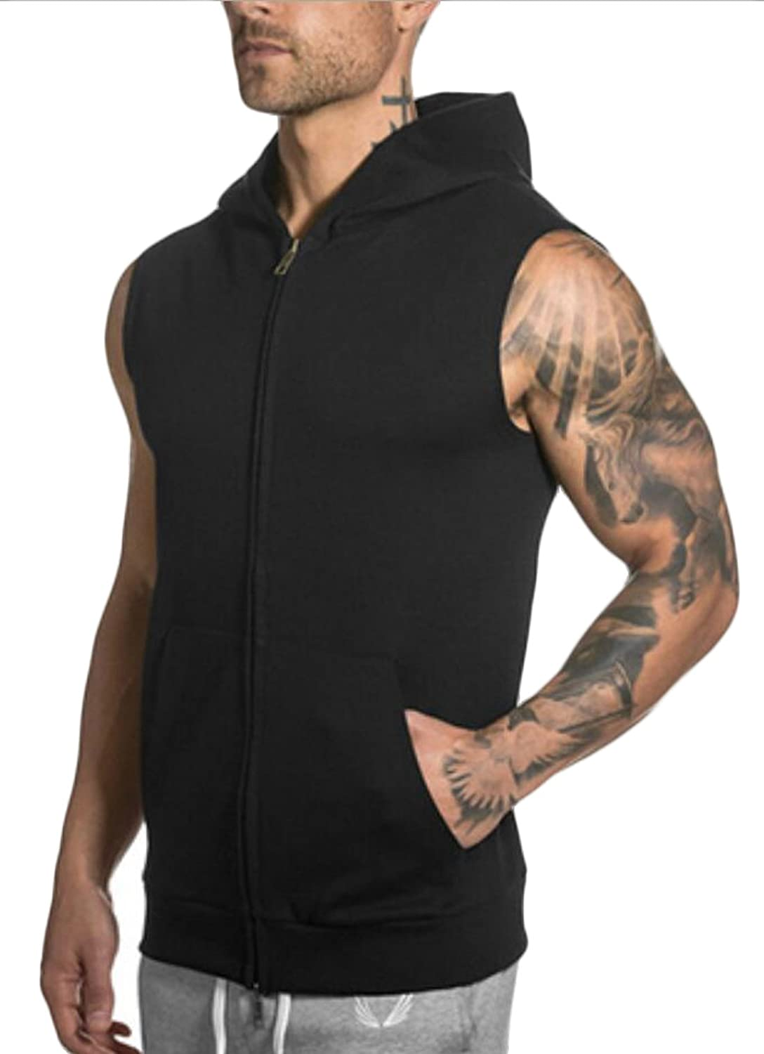 Acquaa Men's Hoodies Full Zip Sleeveless Hooded Sweatshirt