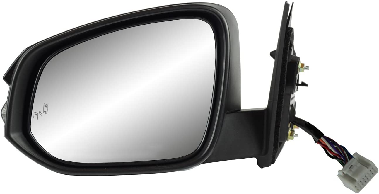 Blind spot Detection System Textured Black w//PTM Cover w//Turn Signal Driver Side Mirror for Toyota Highlander Foldaway Memory w//o Around View Monitor Heated Power Puddle lamp