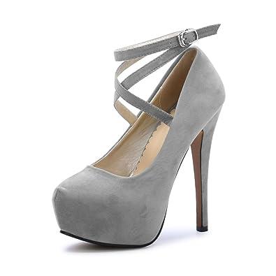 e1860a5717113 OCHENTA Femme Escarpins Bride Cheville Sexy Talon Aiguille Plateforme Epais  Fermeture Lacets Chaussures Club Soiree Gris