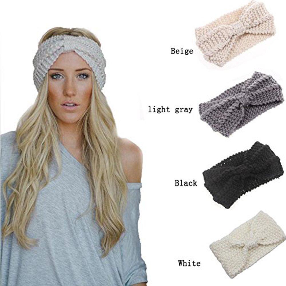 G-Lighting® 4Pcs Bandeau Laine Bandeau Cheveux Femme Fille Tricoté (Noir/Beige/Gris Clair/Blanc) zhangming G-Lighting®