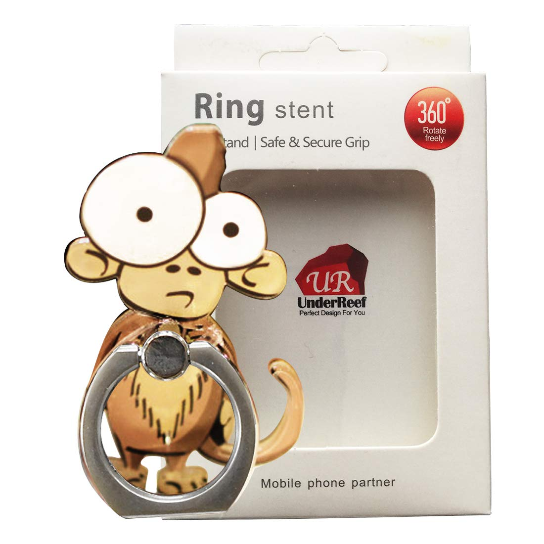 Cell Phone Finger Ring Holder Cute Animal Smartphone Stand 360 Swivel for iPhone, Ipad, Samsung HTC Nokia Smartphones Tablet,by UnderReef (Monkey) by UnderReef (Image #7)