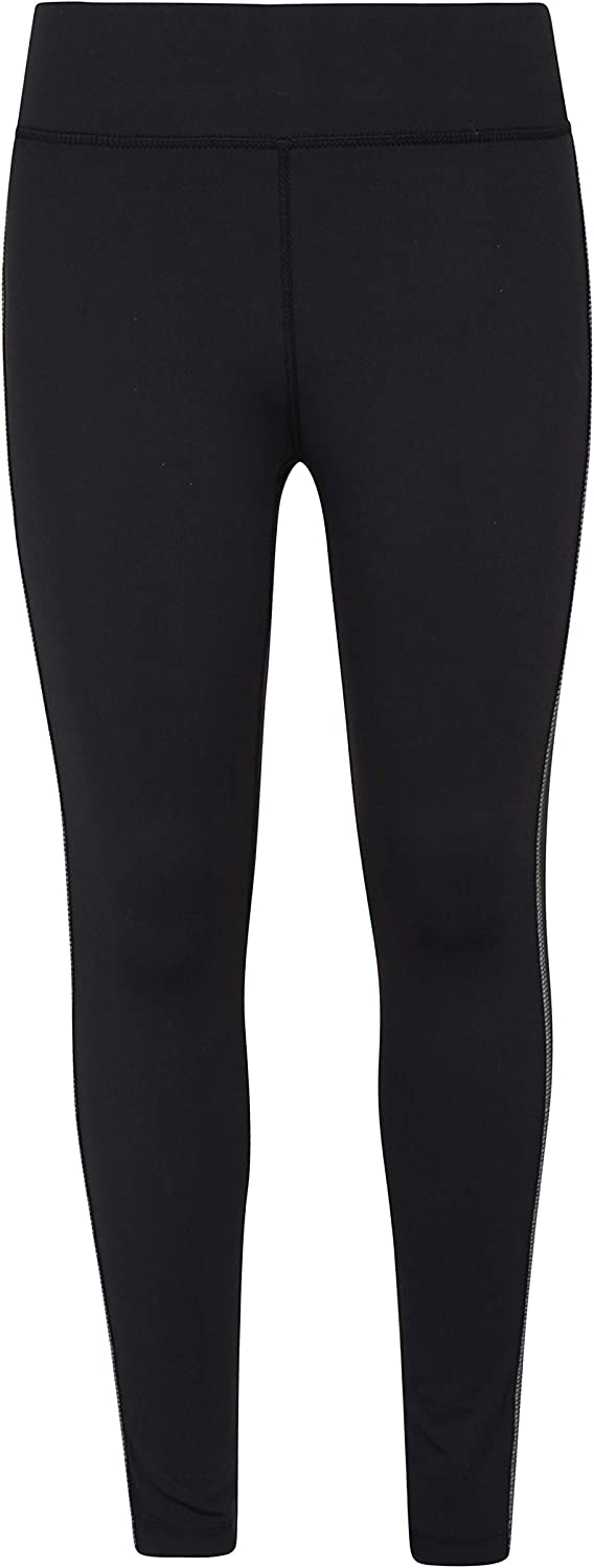 Mountain Warehouse Reflective Kids Leggings-Stretchy Childrens Tights Black 7-8 years