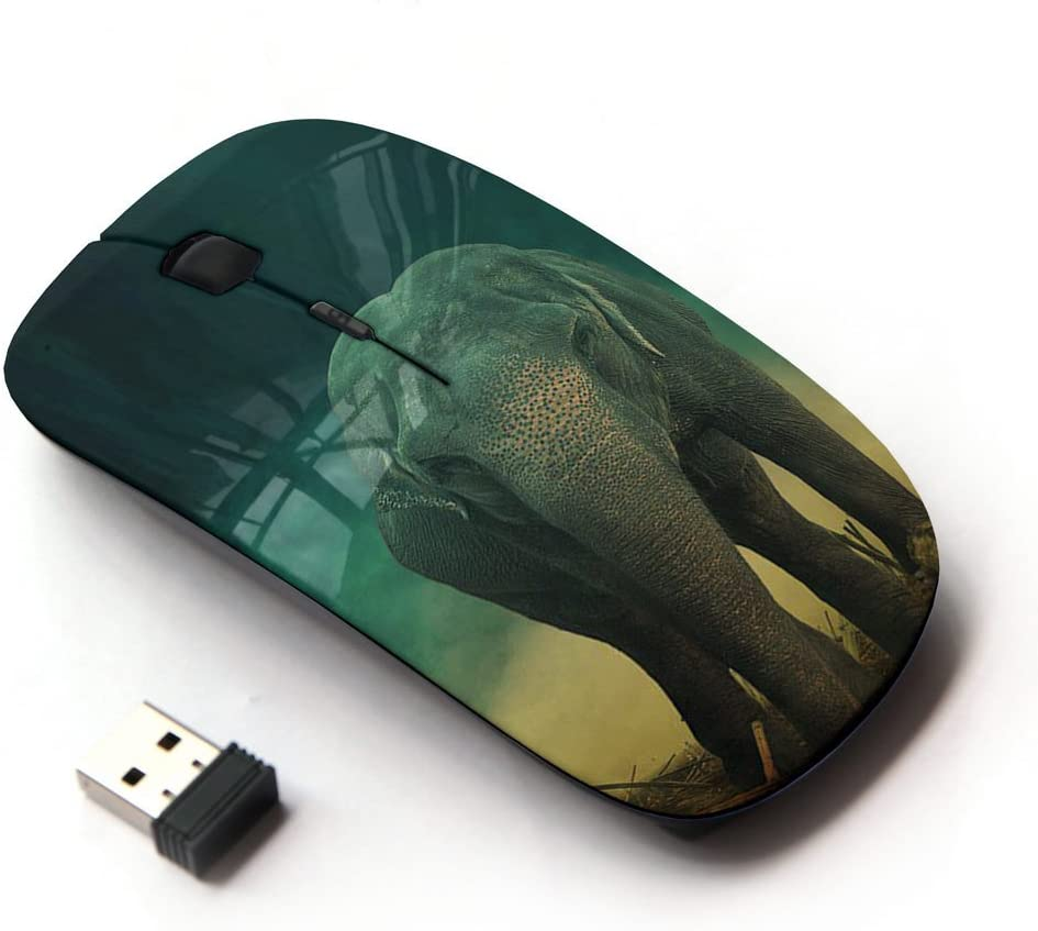 STPlus Elephants On Water Animal 2.4 GHz Wireless Mouse with Ergonomic Design and Nano Receiver