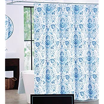 Amazon.com: Cynthia Rowley Fabric Shower Curtain Quincy Blue: Home ...