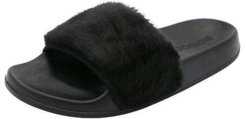 0dd857510a8494 ROWOO Women Slip on Faux Fur Trim Flat Slipper Sandals (8 US   39 EU