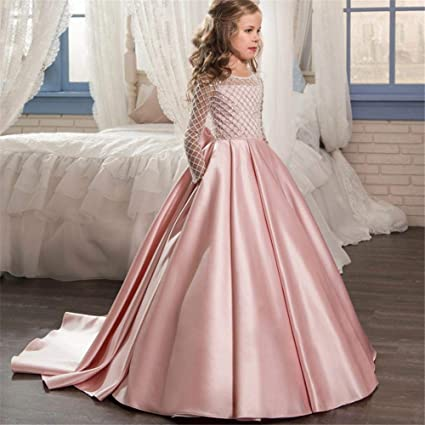 bb9445d3b29c Kids Girl Princess Dress Lace Stain vestito formale matrimonio damigella d   onore festa principessa lunghi