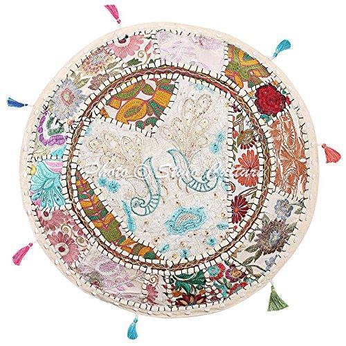 55cm 22x22x13 pulg Stylo Culture Otomano Puff Asiento otomano Cubierta Grande Blanco /étnico Bordado Patchwork algod/ón Tradicional Redondo puf otomano Tela Cubierta