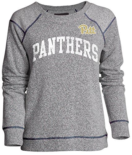 NCAA Pittsburgh Panthers Moonlight Women's Reversed Sleeve Crew, Pepper/Navy, Small