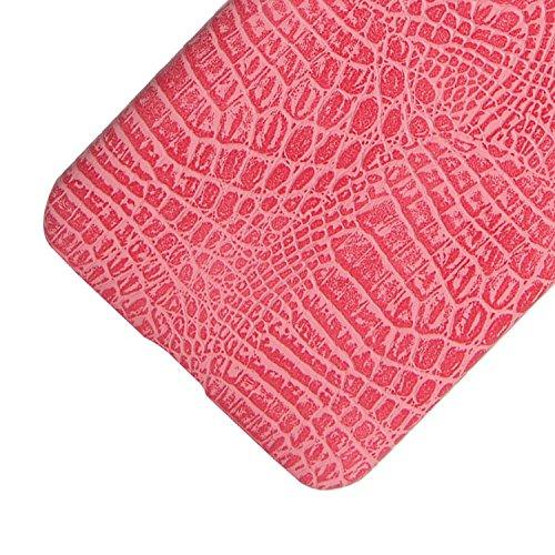 YHUISEN Huawei Y5II Caso, patrón clásico de lujo de la piel del cocodrilo [Ultra delgado] Cuero de la PU Anti-rasguño Cubierta dura protectora de la caja de la PC para Huawei Y5II / Huawei Y5 2 / Huaw Pink