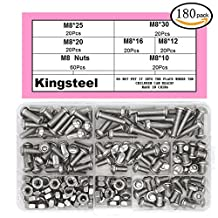 Kingsteel 304 Stainless Steel M8 Flat Round Head Inner Hexagon Screws Bolts Nuts Assortment Kit(180pcs)-CAM8