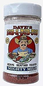 Dave's Rub a Dub Dub Mighty Mild BBQ Seasoning Low Sodium Dry Rub Spice Blend for Meats Seafood Veggies 5 OZ Shaker Bottle