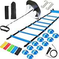 Kevirice Agility Ladder Speed Training Equipment, Includes Agility Ladder,Running Parachute,Jump Rope,Resistance Bands,Resistance Cones for Football,Basketball,Hockey Training Athletes.