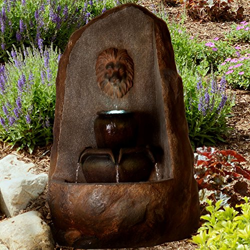 Interior Waterfall (Outdoor Water Fountain With LED Lights- Lighted 3 Tier Lion Head Rock Fountain With Soothing Sound for Patio, Lawn and Garden Décor By Pure Garden)