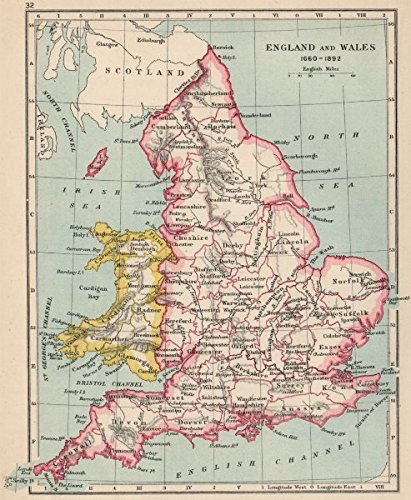 Map Of England Counties And Towns.Amazon Com England Wales 1660 1892 Counties Towns 1907 Old