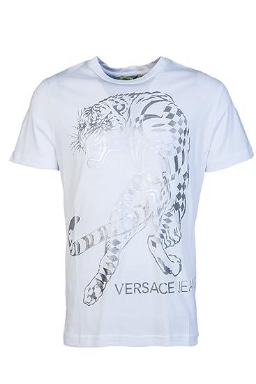 5e8f3f45da09 Amazon.com  Versace Jeans B3GRB77F Printed White Silver T-Shirt L ...
