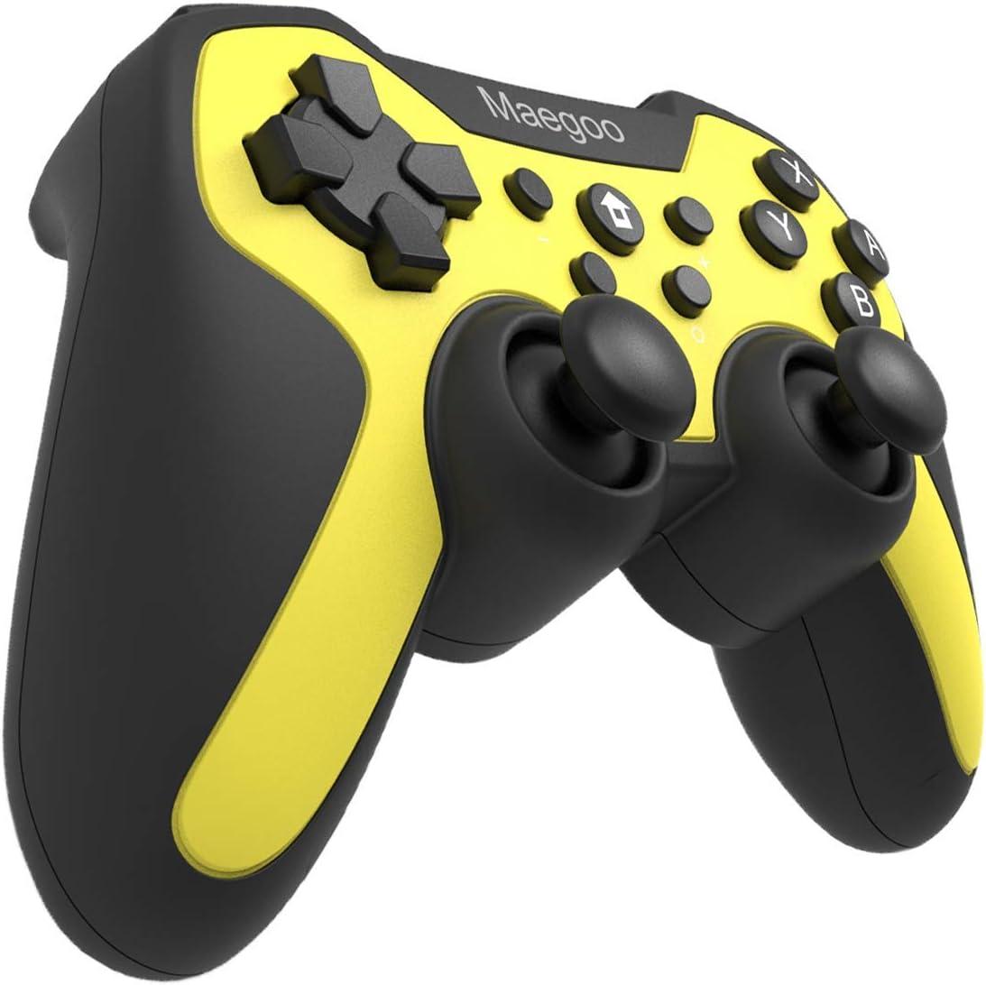 Maegoo Mando Controlador Inalámbrico para Switch, Bluetooth Remote Wireless Pro Mandos Controller Gamepad Joypad con Función Gyro Axis/Dual Shock y Turbo - Amarillo