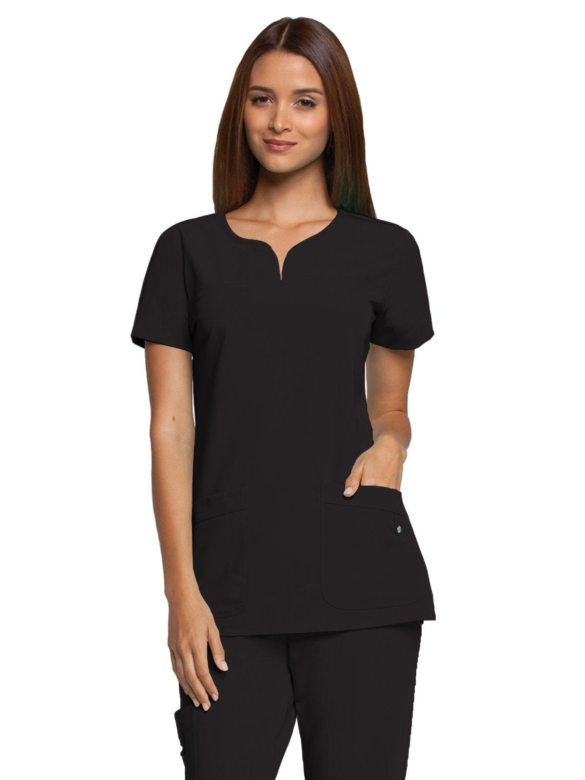 Grey's Anatomy Signature Women's Two Pocket Notch Yoke Neck Scrub Top, Black, X-Large