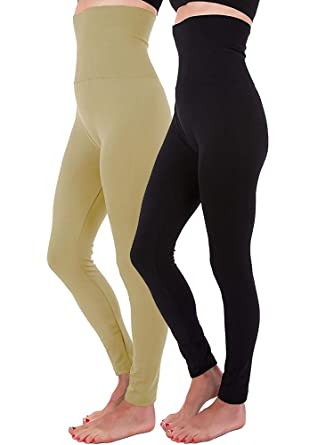 ffb094662ab 2-Pack High Waist Fleece Lined Tummy Control Full Length Legging Winter  Compression Top Pants