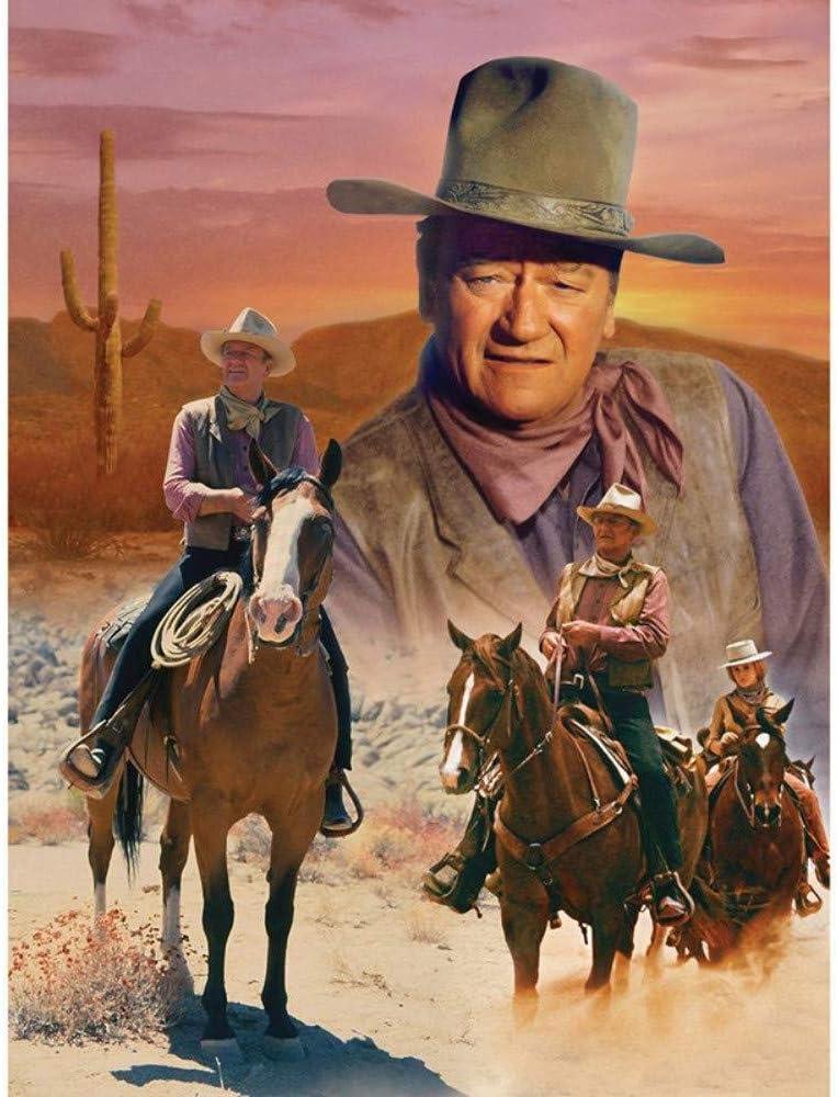 Pintura de diamante 5D Diy Kit de bordado Kit de taladro completo Western Cowboy Accesorios Punto de cruz Mosaico Hogar Cocina Decoración Artesanías Regalo de arte,50X70cm